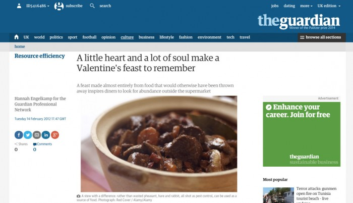 A Valentine's feast saved from landfill – article for the Guardian